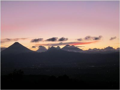 A View of the Volcanoes from the Rooftop Garden