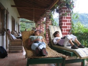 Educators from Colorado relaxing at the end of the day in Guatemala.